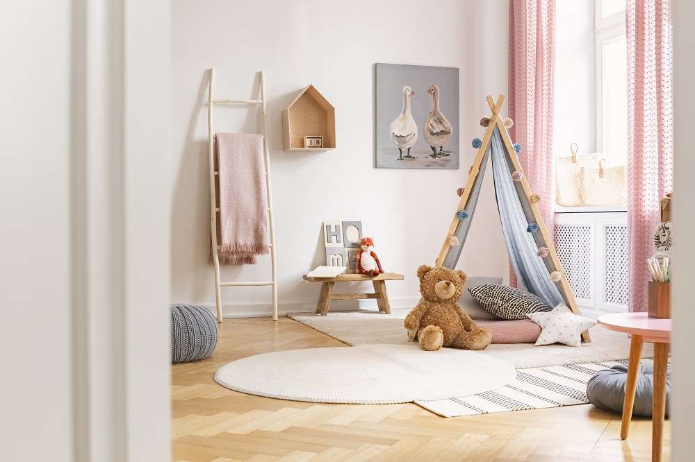 Kid's bedroom with timber flooring